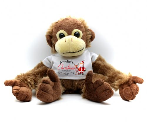 Personalised Monkey Teddy Bear N15 - Any Name Christmas Cuddle Bear Gift